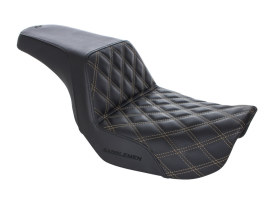 Step-Up LS Dual Seat with Gold Double Diamond Lattice Stitch. Fits Dyna 2006-2017.