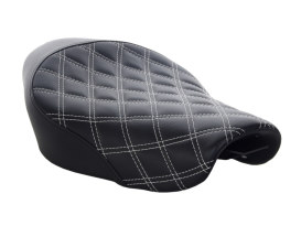 Renegade LS Solo Seat with White Double Diamond Lattice Stitch. Fits Sportster 2004up with 4.5 Gallon Fuel Tank.