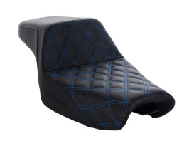 Step-Up LS Dual Seat with Blue Double Diamond Lattice Stitch. Fits Sportster 2004up with 4.5 Gallon Fuel Tank.
