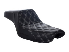 Step-Up LS Dual Seat with White Double Diamond Lattice Stitch. Fits Sportster 2004up with 4.5 Gallon Fuel Tank.
