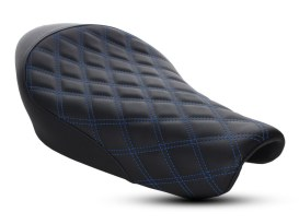 Renegade LS Solo Seat with Blue Double Diamond Lattice Stitch. Fits Sportster 2004up with 3.3 Gallon Fuel Tank.