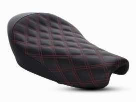 Renegade LS Solo Seat with Red Double Diamond Lattice Stitch. Fits Sportster 2004up with 3.3 Gallon Fuel Tank.
