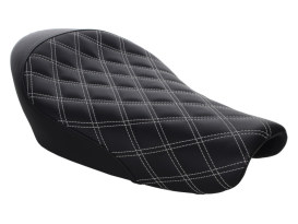 Renegade LS Solo Seat with White Double Diamond Lattice Stitch. Fits Sportster 2004up with 3.3 Gallon Fuel Tank.