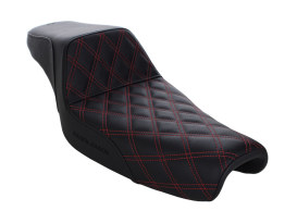 Step-Up LS Dual Seat with Red Double Diamond Lattice Stitch. Fits Sportster 2004up with 3.3 Gallon Fuel Tank.