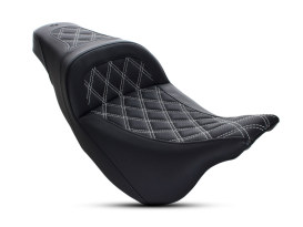 Slim LS Dual Seat with White Double Diamond Lattice Stitch. Fits Touring 2008up.