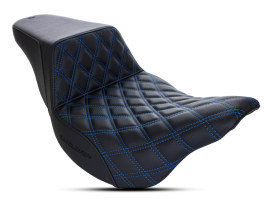Step-Up LS Dual Seat with Blue Double Diamond Lattice Stitch. Fits Touring 2008up.