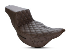 Brown Step-Up LS Dual Seat with Black Double Diamond Lattice Stitch. Fits Touring 2008up.