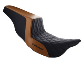 Custom Black & Brown Step-Up LS Dual Seat with Black Double Diamond Lattice Stitch. Fits Touring 2008up.