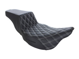 Step-Up LS Dual Seat with White Double Diamond Lattice Stitch. Fits Touring 2008up.