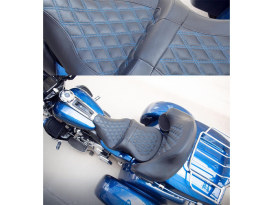 Roadsofa LS Dual Seat with Blue Double Diamond Lattice Stitch. Fits Touring 2008up.