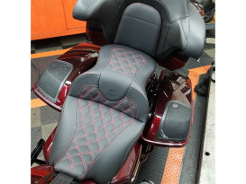 Roadsofa LS Dual Seat with Red Double Diamond Lattice Stitch. Fits Touring 2008up.