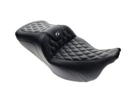 Roadsofa LS Dual Seat with White Double Diamond Lattice Stitch. Fits Touring 2008up.