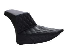 Step-Up LS Dual Seat with Black Double Diamond Lattice Stitch. Fits Softail Slim 2012-2017 & Softail Blackline 2011-2013 Models.