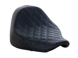 Renegade LS Solo Seat with Blue Double Diamond Lattice Stitch. Fits Fat Boy 2018up.