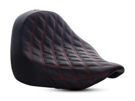 Renegade LS Solo Seat with Red Double Diamond Lattice Stitch. Fits Fat Boy 2018up.