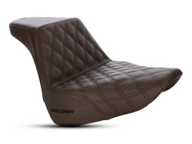 Brown Step-Up Front LS Dual Seat with Black Double Diamond Lattice Stitch. Fits Fat Boy 2018up.