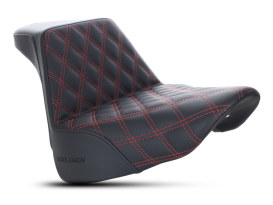 Step-Up Front LS Dual Seat with Red Double Diamond Lattice Stitch. Fits Fat Boy 2018up.