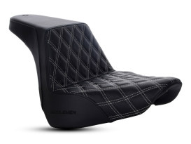 Step-Up Front LS Dual Seat with Silver Double Diamond Lattice Stitch. Fits Fat Boy 2018up.