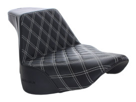 Step-Up Front LS Dual Seat with White Double Diamond Lattice Stitch. Fits M8 Softail Fatboy 2018up.