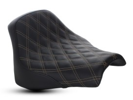Renegade LS Solo Seat with Gold Double Diamond Lattice Stitch. Fits Fat Bob 2018up.