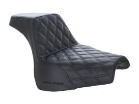 Step-Up LS Dual Seat with Black Double Diamond Lattice Stitch. Fits Fat Bob 2018up.