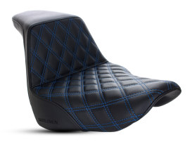 Step-Up LS Dual Seat with Blue Double Diamond Lattice Stitch. Fits Sport Glide & Low Rider 2018up & Low Rider S 2020up.