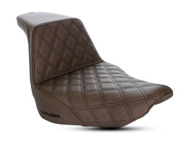 Brown Step-Up LS Dual Seat with Black Double Diamond Lattice Stitch. Fits Low Rider, Sport Glide 2018up & Low Rider S 2020up.