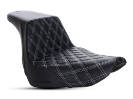 Step-Up LS Dual Seat with Silver Double Diamond Lattice Stitch. Fits Sport Glide & Low Rider 2018up & Low Rider S 2020up.