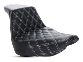 Step-Up LS Dual Seat with White Double Diamond Lattice Stitch. Fits Sport Glide & Low Rider 2018up & Low Rider S 2020up.