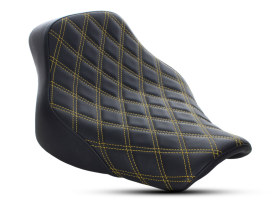 Renegade LS Solo Seat with Gold Double Diamond Lattice Stitch. Fits Softail Deluxe and Heritage Softail Classic 2018up.