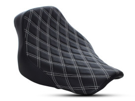 Renegade LS Solo Seat with White Double Diamond Lattice Stitch. Fits Softail Deluxe and Heritage Softail Classic 2018up.