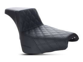 Step-Up LS Dual Seat with Black Double Diamond Lattice Stitch. Fits Deluxe, Heritage Classic, Softail Slim & Street Bob 2018up Models.