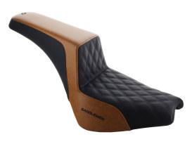 Custom Black & Brown Step-Up LS Dual Seat with Black Double Diamond Lattice Stitch. Fits Softail Street Bob 2018up & Standard 2020up.
