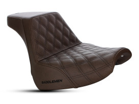 Brown Step-Up Front LS Dual Seat with Black Double Diamond Lattice Stitch. Fits Breakout 2018up.