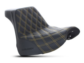 Step-Up Front LS Dual Seat with Gold Double Diamond Lattice Stitch. Fits Breakout 2018up.