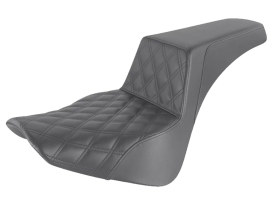 Step-Up LS Dual Seat with Black Double Diamond Lattice Stitch. Fits Softail Deluxe, Heritage Classic & Slim 2018up.