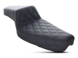 Step-Up LS Dual Seat with Black Double Diamond Lattice Stitch. Fits Sportster 1982-2003.