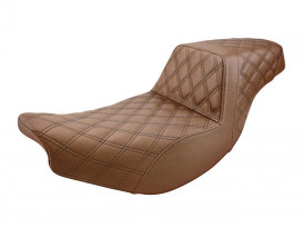 Brown Step-Up LS Dual Seat with Black Double Diamond Lattice Stitch Front & Rear. Fits Indian Touring 2014up.