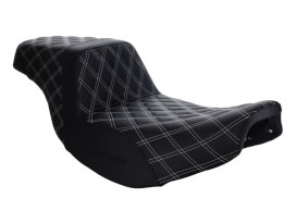 Step-Up LS Dual Seat with White Double Diamond Lattice Stitch Front & Rear. Fits Indian Touring 2014up.