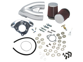 Single Bore Tuned Induction Kit - Chrome. Fits Big Twin 1984up with Super E or G Carburetor & 4-1/8