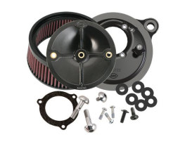 Stealth Air Cleaner Kit with High Flow Element - Black. Fits Twin Cam 2006-2017 with 58mm S&S Throttle Hog Cable Operated Throttle Body.