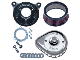 Mini Teardrop Air Cleaner Kit - Chrome. Fits Twin Cam 2008-2017 with Throttle-by-Wire.