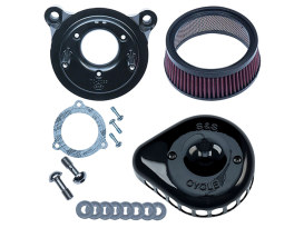 Mini Teardrop Air Cleaner Kit - Black. Fits Twin Cam 2008-2017 with Throttle-by-Wire.
