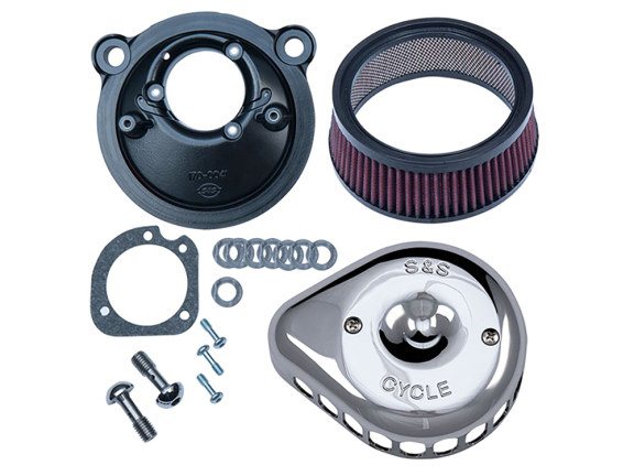 Mini Teardrop Air Filter Assembly with Chrome Finish. Fits Sportster 2007up with EFI.