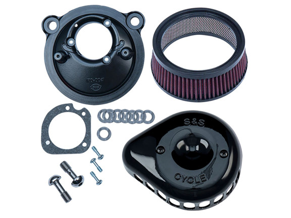 Mini Teardrop Air Filter Assembly with Black Finish. Fits Sportster 2007up with EFI.