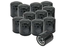 Box of 12 Oil Filters with Black Finish. Fits Softail 1984-1999, Sportster 1984up, FXR 1983-1994, Touring Models 1980-1998 & Buell 1995-2002.