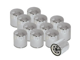Box of 12 Oil Filters with Chrome Finish. Fits Softail 1984-1999, Sportster 1984up, FXR 1983-1994, Touring Models 1980-1998 & Buell 1995-2002.