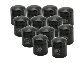 12 Pack of Oil Filters, Black. Fits Twin Cam 1999-2017 & Milwaukee-Eight 2017up Models.