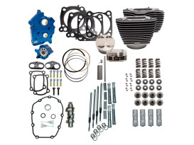 128ci Big Bore Kit with Chain Drive 550 Cam, Highlighted Fins & Chrome Pushrod Tubes. Fits Milwaukee-Eight 2017up with 114ci Water Cooled Engine.