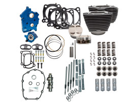 128ci Big Bore Kit with Chain Drive 550 Cam, Highlighted Fins & Chrome Pushrod Tubes. Fits Milwaukee-Eight 2017up with 114ci Oil Cooled Engine.
